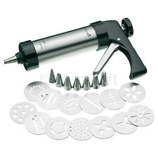 Master Class Deluxe 22pc Galleta Set Heavy Duty Glaseado Pistola Con Caja De Acero Inoxidable