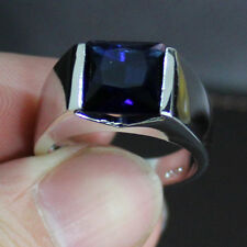 Size 12 Jewellery Antique Mens 925 Silver Princess Cut Sapphire Wedding Ring HOT