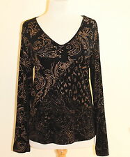 Chico's Travelers Black Printed Pieced Nothing Matches Vneck Top Sz 1 Made in US