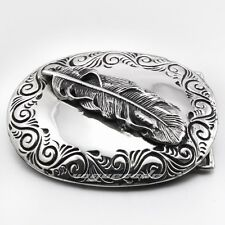 Solid 316L Stainless Steel Feather Mens Biker Rock Punk Belt Buckle Q024A