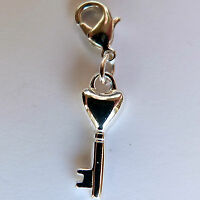Clip on charm for bracelet or hand bag. Key to my heart charm Silver  25mm X 7mm