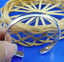 1PCS S80 silver CZ Filled Women's Smooth Cuff  Bangle BJ55