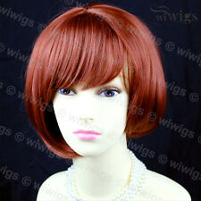 Posh Short Asymmetric Bob Hairstyle Dark Copper Red Ladies Wig from WIWIGS UK
