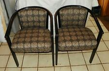 Pair of Retro Black Distressed Barrel Back Armchairs / Club Chairs  (AC86)