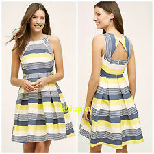 NWT $168 14 Anthropologie Canary Fit & Flare Striped Party Dress Eva Franco Cute