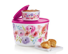 Tupperware Art of Spring Companion Canisters Set Flowers 27-cups 2-1/4-cups New