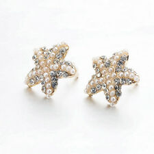 OE Pure Gold Plated Beads Rhinestone Starfish Earring Sea Star Ear Stud