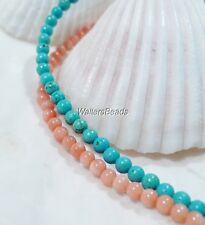 NATURAL ANGELSKIN CORAL AND SLEEPING BEAUTY TURQUOISE 3 MM 2 STRANDS