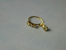 Gold plated nose ring  with white crystals and hanging bead