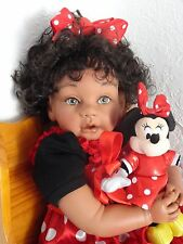 "Reborn 22"" Biracial/Ethnic/AA Toddler Girl Doll ""Melody"" with Minnie Mouse"