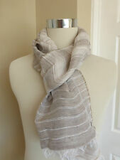 BNWT Hugo Boss Beige Stripe Pattern Lightweight Linen Cotton Scarf