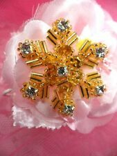 "Sequin Christmas Applique Gold Beaded Crystal Rhinestone Snowflake 1.5"" (XR284)"