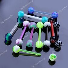 10x Punk Mixed UV Colorful Round Ball 14g Straight Barbell Tongue Rings Piercing