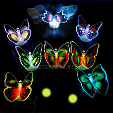 12pcs Colors Changing Fiber Optic Flashing LED Butterfly Party Decor Light Lamp
