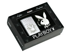 Accendino Zippo lighter briquet 24464 Playboy antivento benzina con portachiavi