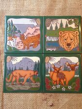 LOT OF 4 NATURE ANIMALS OUTDOORS HANDGLAZED TRIVET CERAMIC ART TILE MASTER WORKS