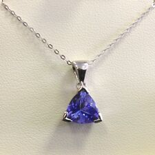 3.00 Carat Tanzanite Trillion Shape Solitaire Pendant Crafted in 18k White Gold.