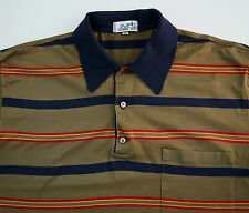 HERMES Paris Multi-Colored Striped 100% Cotton Short-Sleeve POLO Shirt L