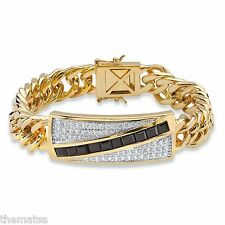 "MENS 14K GOLD 1.70 TCW ONYX 8"" CHANNEL SET CZ BRACELET  GP"