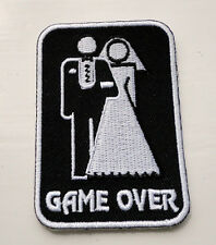 P2 Game Over Marriage Funny Stag Hen Night Iron on Patch Laugh Joke Wedding