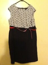 CONNECTED WOMAN Black & White w/ Red Belt Sleeveless Dress Plus Size 24W