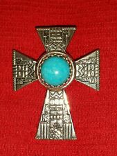 RODERICK TENORIO RELIOS STERLING TURQUOISE CROSS PENDANT ENHANCER CR 925 RMT