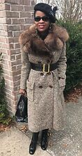 Mint Designer Warm Full length Tweed Nutria lined Raccoon Fur Coat jacket S 0-6