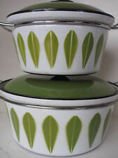 Set of 2 CATHRINEHOLM Lotus Green Avocado Stock Pot Casserole Dutch Oven Norway