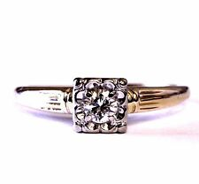 14k yellow gold .19ct VS2 H round diamond engagement ring 2.3g estate vintage