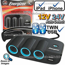Energizer 50505 12v 24v Twin USB Car Lighter Triple Multi Socket Adaptor Charger