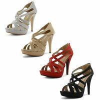 Womens Ladies Strappy High Heel Platform Peep Toe Glitter Shoes Sandals Size UK