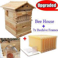 7PCS Upgraded Auto Flow Beehive Honey Frames + 1 PC Beekeeping Wooden House