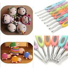 8pcs Colorful Soft Plastic Handle Aluminum Crochet Hooks Knitting Needles Set CN