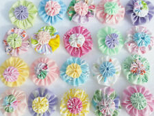 Fabric Flower SPRING  Yo Yo Quilt Embellishments Applique Hairbow Bobby Pin