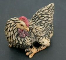 Japan ivory colored bone  netsuke -Fighting ROOSTER Bird,Sharp Claws,watchout !
