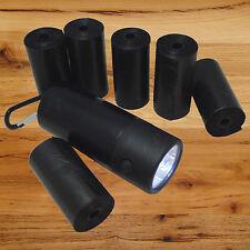 FREE LED Flash Light Dispenser +120 DOG CAT PET WASTE BAGS POOP SCOOP Roll BLACK