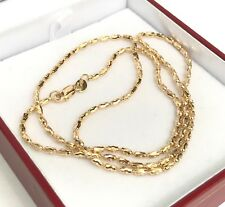 18k Solid Yellow Gold Shiny Italy Beaded Chain Necklace, 20 Inches, 6.42 Grams