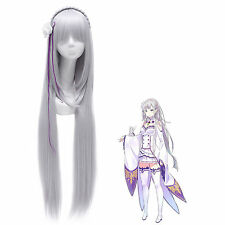 Re:Zero Starting Life in Another World Emilia Cosplay Wig with Headwear USA Ship