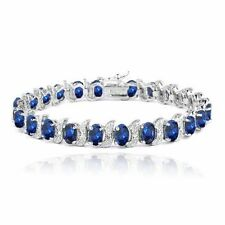 925 Silver 15ct TGW Created Sapphire & Diamond Accent S and Oval Link Bracelet