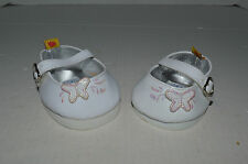 Build A Bear Shoes~Casuals~White Patent Leather With Fluttering Butterfly