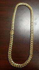 "24"" 14k Gold Plated Silver Miami Cuban Link Chain, 12 mm 210 grams"