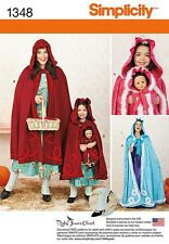 PATTERN SIMPLICITY CAPE Hood MISS & KIDS S XL Halloween Costume 1348 Doll Cloak