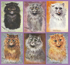CATS  -  CRYSTAL CAT CARDS - SET OF 6 LOUIS WAIN CAT CARDS - PERSIANS 2ND SERIES