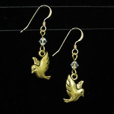 SJ1~3D Dove Bird Charm 14K Gold GF Dangle Earrings w/ Swarovski Crystal