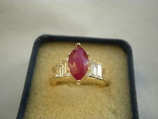 2.5Ct Natural African Ruby & Topaz 14K Y Gold/925 Ring Size N