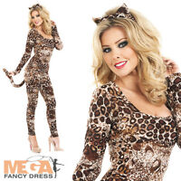Sexy Leopard Catsuit Ladies Cat Bodysuit Fancy Dress Animal Womens Costume 8-30