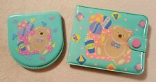Vintage Sanrio Just For Fun bear teddy bear turquoise wallet compact