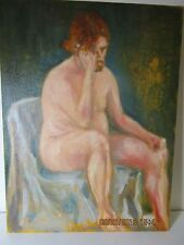 vintage nude man sitting on chair painting on canvas board original art 16x12