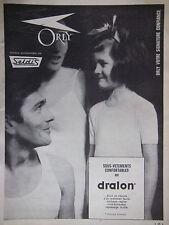 PUBLICITÉ DE PRESSE 1963 ORLY LES SOUS-VÊTEMENTS EN DRALON - ADVERTISING