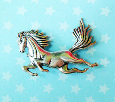 HORSE BROOCH PIN METAL GALLOPING EQUESTRIAN SHOW JUMPING DRESSAGE PONY